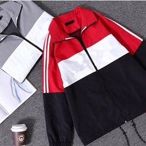 Totatoop de hommes / femmes au large manteau balle kanye Paris Fashion Show rayé Veste vintage hoodies coupe-vent de hip hop pull deux couleurs et la ceinture