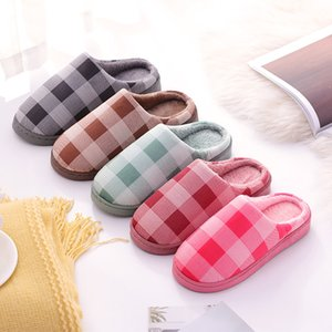 Women Winter Home Indoor Slippers Geometric Shoes Soft Winter Warm House Slippers Indoor Bedroom Lovers Couples Plaid T14