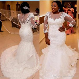 African Plus Size Wedding Dresses 2 New 3 4 Long Sleeve Scoop Neck Applique Lace Wedding Gowns Mermaid Long Wedding Dress
