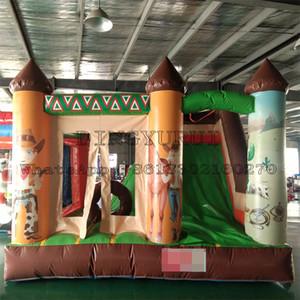 Kombine Slide ile Açık Güzel Tasarım Batı Kovboy Şişme Bouncer Mini Bounce Combo Atlama Kale Tramplen