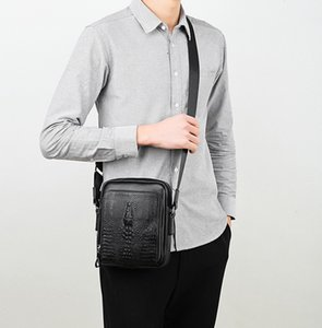 New Genuine leather Alligator double zipper men designer shoulder crossbody bags male business casual cow leather purses no700