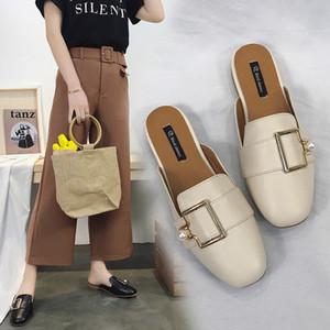 Single-scarpa femminile 2020 semi-pantofole di usura moda estiva selvatici mocassini piatti sandali delle donne pantofole XXS scarpe da casa