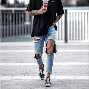 Mens Biker Jeans High Street Slim Fit Ripped Jeans Masculino Distressed Denim magro Lavados Big Hole Zipper Jeans1