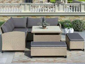 6 pièces meubles de patio Ensemble extérieur en rotin et osier Canapé avec table et bancs pour Backyard, Jardin, piscine