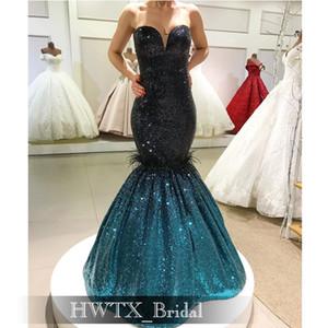 Long Mermaid Arabic Evening Dress 2020 Navy Blue Emerald Green Sequin Dubai Women Prom Dresses Pageant Gowns vestidos de fiesta