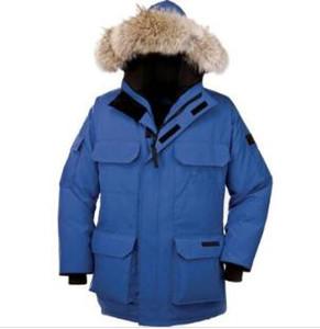 Alta calidad Espesor del invierno del estilo de la chaqueta para hombre abajo cubre caliente super prendas de vestir exteriores encapuchada de la piel de Big Man Down chaqueta de la capa del tamaño XS-XXL
