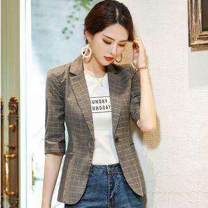 Fashion Plaid Formal Half Sleeve Women Blazer and Jackets Coat For Ladies Office Work Wear 2019 Spring Summer OL Styles Blazers