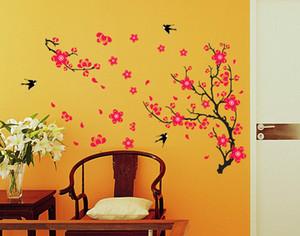 Plum Blossom Swallow Adhesivo de pared para sala de estar sofá / TV decoración de fondo Calcomanías Mural Art Flower Stickers en la pared