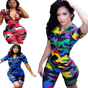 Camouflage Digital Print Short Sleeves Pack Hips Tight Jumpsuit Woman. 2019 Summer V-neck Zipper Sexy