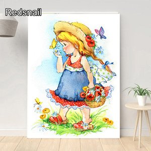 5D Needlework Diamond Painting Cartoon girl flower Diamond Embroidery Mosaic Picture by numbers Full Drill Rhinestone TT324