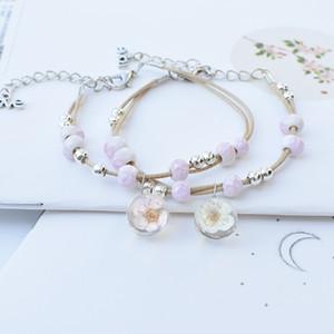 Nueva manera de la pulsera de las mujeres de tendencia de las mujeres simples de flores secas pulsera Japón Corea del Sur y Europa Moda pulsera de la flor de las mujeres