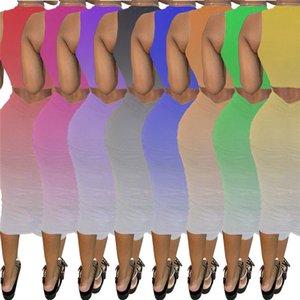 Ärmel Gradient dünne Sommer-Frauen Kleider U Neck Backless Plissee Womens Designer-Kleider Solid Color Lässige Bodycon Kleider
