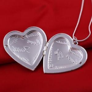 오픈 목걸이 목걸이 사진 프레임 메모리 매력 목걸이 목걸이 Collares 보석 어머니의 날 선물 심장 펜던트 목걸이