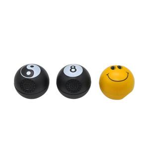 Moedor de fumo esférico de duas camadas Moedor de fumo esférico de duas camadas Face de sorriso amarela Moedor de fumo de 8 bolas