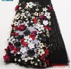 2019 flores africanas de la tela de la alta calidad 3D con la tela moldeada del cordón de Tulle el nuevo diseño Nigerian Tulle PGC1956B-2