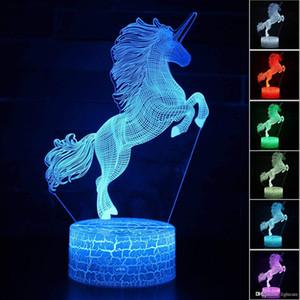 3D Illusion monocerous Unicorn ночник, 7 Изменение цвета, Touch White Crack Base