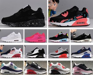 Kids Sneaker 90 Running Shoes Childrens Black Athletic Shoes 90 Black Pink Baby Infant Sneaker 90 Kids Designer sports shoes girls boys