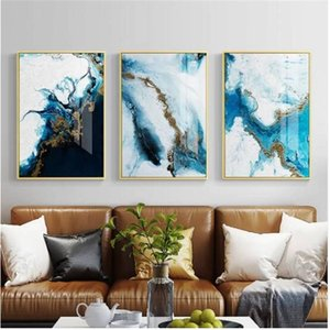 Abstract Blue Marble Pattern акварельными принтами Произведение плаката и печать на холсте Картины Стена Галерея современного искусства Home Decor