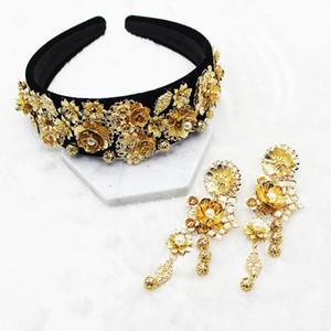 Yeni Moda Altın Ayçiçeği Yaprak Taç Barok Balo Saç Bandı İnci Saç Takı Düğün Tiara Aksesuar Hediye İçin Kadınlar Partisi C19041703