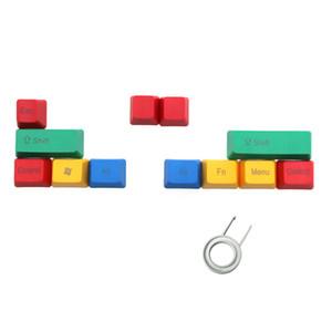 10 Tasten RGBY bunte Tastenkappe leer / oben / Seite gedruckt PBT Tastenkappen für USB mechanische Tastatur DIY Ersatz