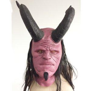 Hellboy Máscara infierno chico de arriba de la capilla Máscaras de Halloween cosplay miedo máscara de látex máscara de pestañas terror vestido de festa cara maske