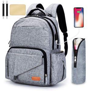 Mamãe papai business casual Sacos de Fraldas com USB stroller strap bag garrafa multi-função de grande capacidade mãe mochila M087