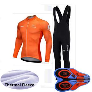 STRAVA ekibi Bisiklet Kış Termal Polar forması önlük pantolon setleri 2019 Bisiklet Giyim Ropa Ciclismo Spor Üniformalar U90505