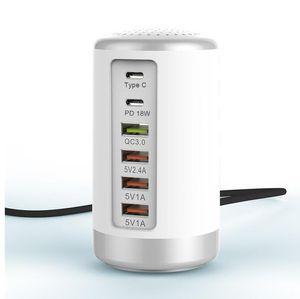 역 충전 65W 6 포트 USB 고속 충전기 HUB 급속 충전 QC 3.0 멀티 USB 타입 C PD 충전기