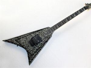 ALEXI spécial en forme de V en forme de guitare électrique, bleu et perle noire Garde plaque de placage, dentelée tête et Tremolo, spécial Inlay, peut être personnalisée
