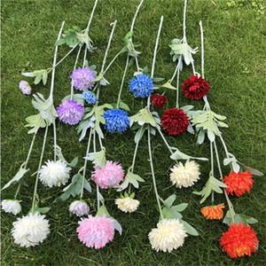 """Sahte Kısa Kök Çince Otsu Şakayık (3 kafaları / adet) 27.56 """"Uzunluk Simülasyon Peonia Düğün Ev için Dekoratif Yapay Çiçekler"""