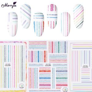 Monja 3 Styles 네일 아트 Self-adhesive 멀티 컬러 라인 스트립 테이프 스티커 Cloth Pattern 3D DIY Decals 매니큐어 장식