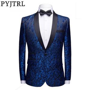PYJTRL Männer Mode Floral Jacquard Kleid Blazer Gentleman Shwal Revers Slim Fit Party Hochzeit Prom Anzug Jacke Männlichen Kostüm Homme