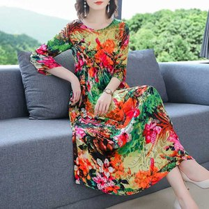 Fashion Silk Ladies Long DressesNew Style High Waist Loose Women Formal Dress Woman Clothes Plus Size