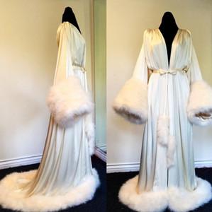 Le donne Inverno Robe Camicia da notte Accappatoio Pigiama Sleepwear Con Pelliccia Train Giacche maniche lunghe Matrimonio Damigella d'onore Shawel