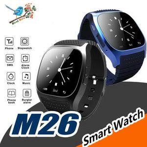 M26 smartwatch Wirelss Bluetooth Akıllı Seyretmek Telefon Bilezik Kamera Uzaktan Kumanda Anti-kayıp alarm Barometre V8 A1 U8 IOS Android için izle