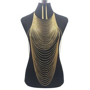 Luxo Belly Moda brilhante Sexy Body Gold Silver Cor completa corpo corrente cadeia Bra Slave Harness borla cintura T200507 Jóias