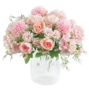 Fiori artificiali, falso Peony di seta del Hydrangea Bouquet decorazione plastica Garofani realistiche composizioni floreali Wedding Decoration