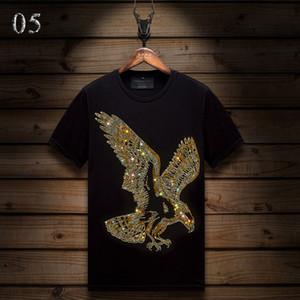 Yaz Casual Erkek Tasarımcı T Gömlek Sıcak Yapay elmas İnce Mürettebat Boyun Tee Merserize Pamuk Tops Kısa kollu