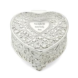 Personalisierte Flourish Herz Aufbewahrungsschachtel, Silber Schmuckschachtel für Geburtstag Favor, Valentines Geschenk der Mutter Tages .custom Hochzeit Geschenk und Favor