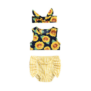3PCS Pudcoco 2019 New  Toddler Newborn Baby Girl Sunflower Tops Vest Plaid Shorts Briefs Outfits