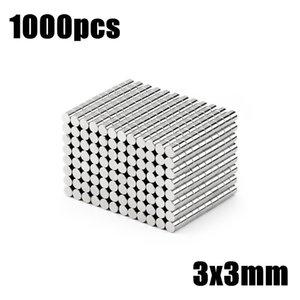 Hardware Materiais Magnéticos 1000pcs 3x3 Super Poderosa massa Strong redonda pequena NdFeB neodímio Disc Ímãs Dia 3 milímetros x 3 milímetros N35 Rare