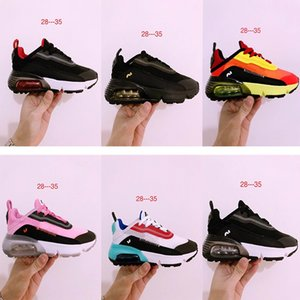 Tennis d'enfants officiels air max 2090 sneaker Noir Blanc Résumé Sneaker Boy filles Triple Noir Blanc Big enfants 30 Chaussures anniversaire
