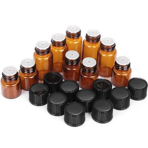 5Pcs 1 2 3 5ml Essential Oil Storage Bottle Jar Orifice Brown Reducer & Cap Refillable Bottles Glass Vials Cosmetic Container