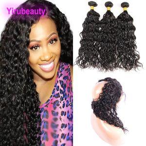 Перуанский человеческих волос 3 пачки с 360 Lace Фронтальная Nautral Black Water Wave перуанских человеческих волос переплетений с кружевом фронтального