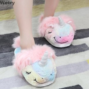 Plush Unicorn Slippers Adult Women 2019 Girls Anti-Slip Indoor Home Slippers UnicornShoes Bedroom Fluffty Warm Winter Soft Grown Y200706
