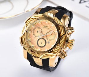 19 Luxury Gold Watch All sub dials working Men Sport Quartz Watches Chronograph Auto date rubber band Wrist Watch for male gift 3C