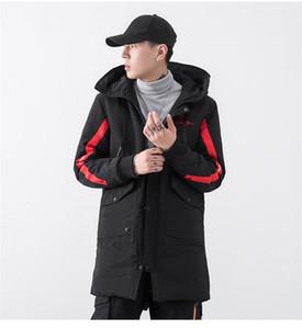 Дизайнерская вышивка мужская парка модная полосатая толстая зимняя куртка с большим карманом с длинным рукавом повседневная одежда
