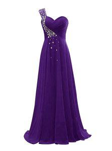 Perles en mousseline de soie une épaule robes de demoiselle 2020 Royal Purple Bleu marine longue Formal Robe du soir lacent