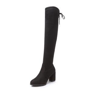 New Flock-Leder-Frauen über das Knie Stiefel schnüren sich oben reizvolle Absatz-Frauen-Schuhe schnüren sich oben Winterstiefel Warm Größe 35-40