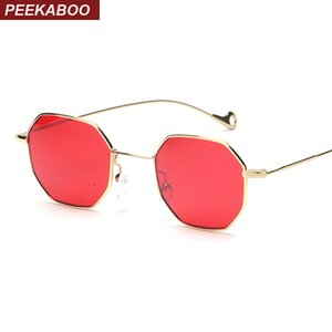 Peekaboo Blue Yellow Red Tinted Sunglasses Women Small Frame Polygon 2017 diseño de marca Vintage gafas de sol para hombre Retro MX190723